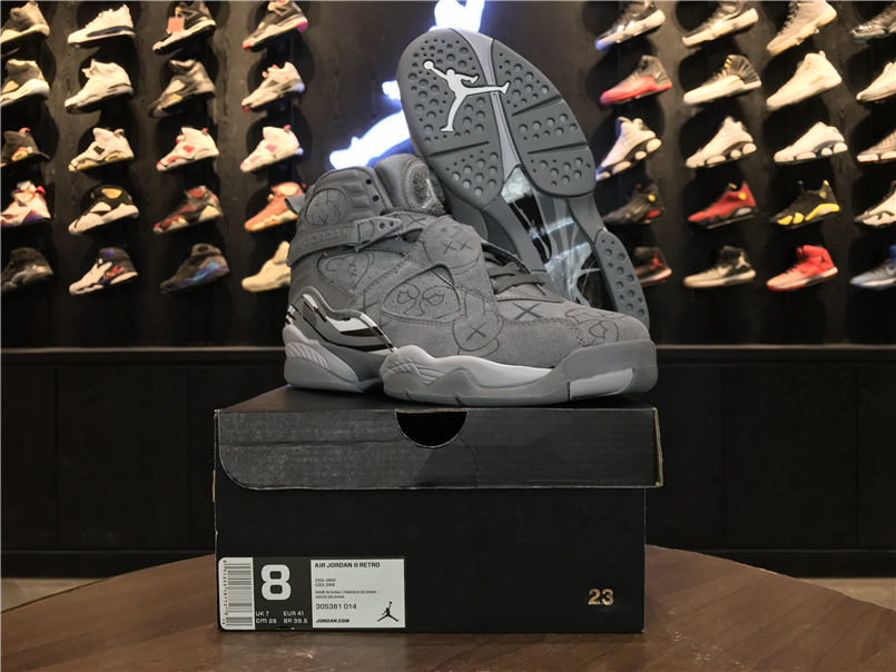 KAWS x Air Jordan 8 Cool Grey Shoes