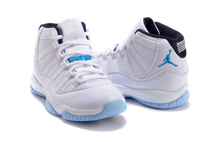 Kids Air Jordan 11 White Blue Shoes