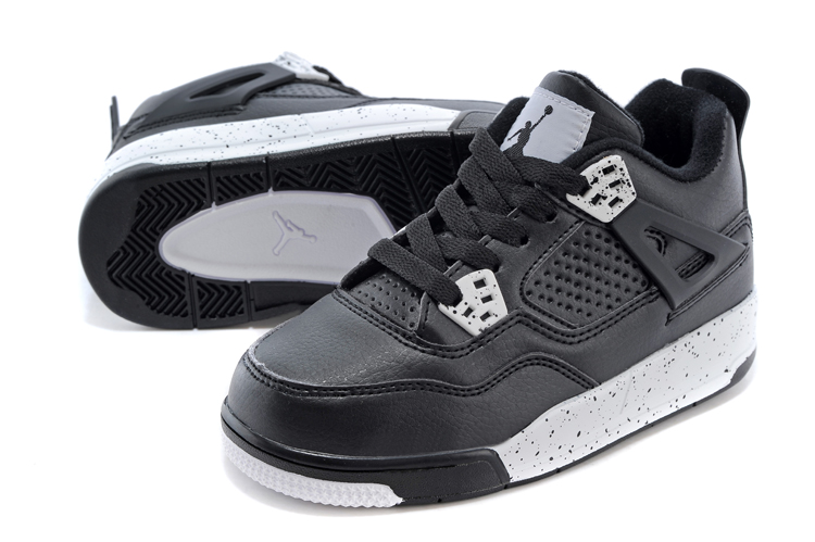 Kids Air Jordan 4 Black White Blue Shoes