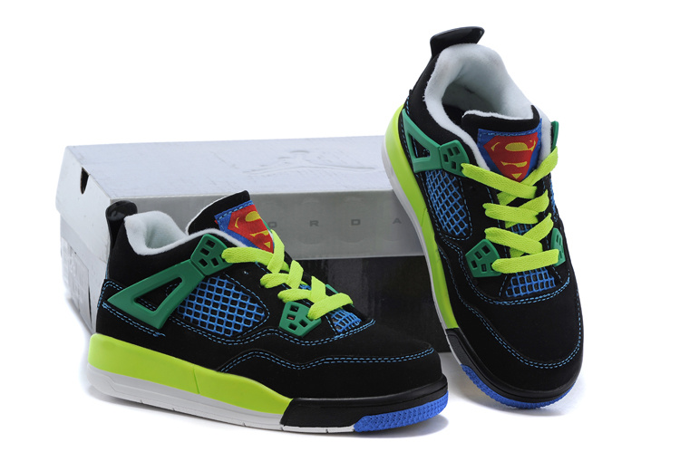 Kids Air Jordan 4 Green Black Blue Shoes
