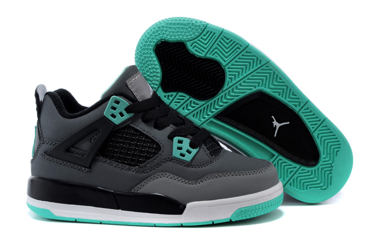 Kids Air Jordan 4 Grey Black Green White Shoes
