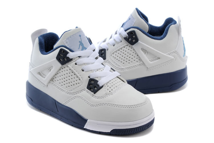 Kids Air Jordan 4 White Dark Blue Shoes