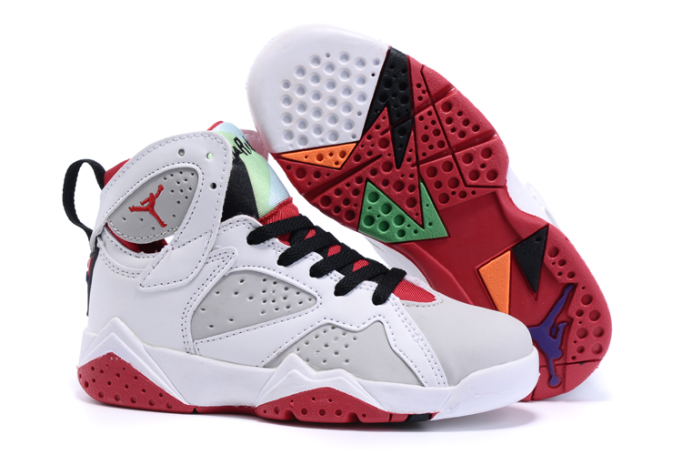 Kids Air Jordan 7 White Red Shoes 5c2bb9928