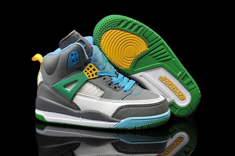8b7d4a1996e290 Kids Air Jordan Spizike 3.5 Grey Blue Green Yellow Shoes  KID026 ...