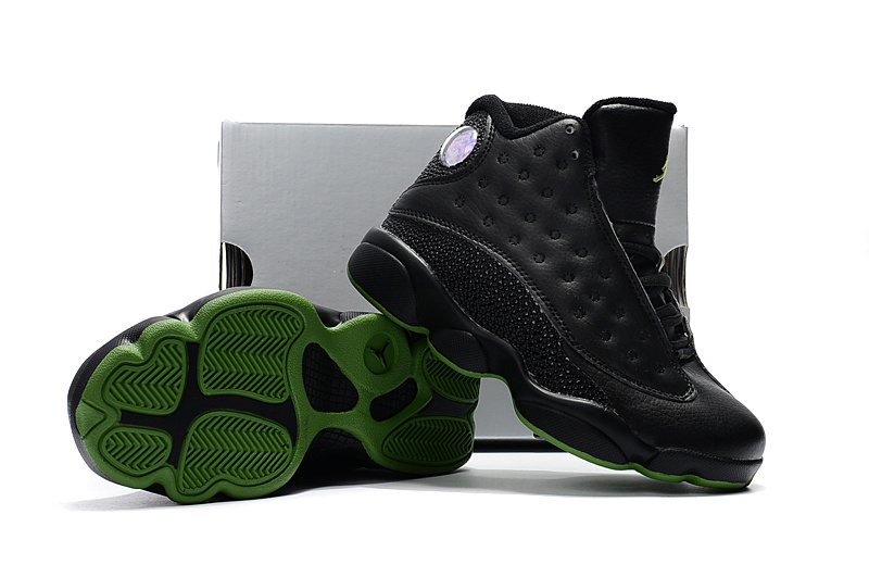 63121c82f337 Kids Jordan 13 Black Green Shoes  17OG6507  -  60.00   Original Air ...