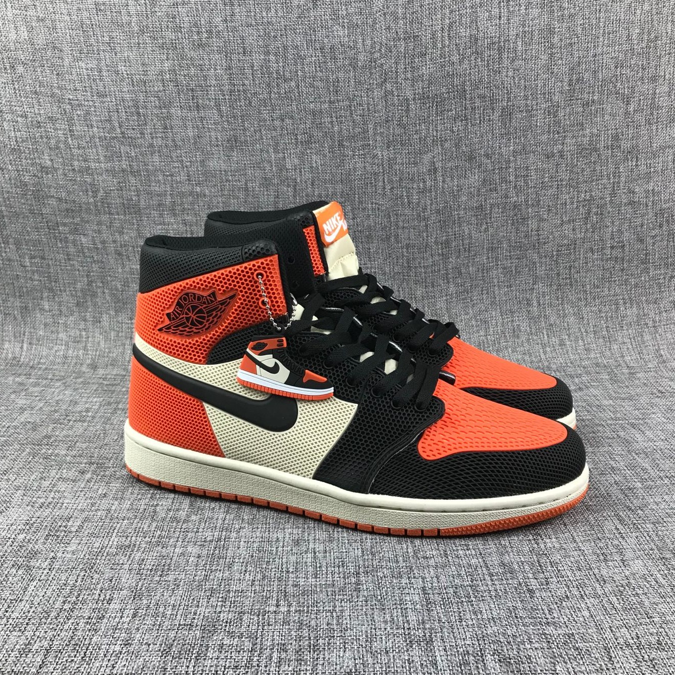 New Air Jordan 1 Drop Plastic Orange Black White Shoes