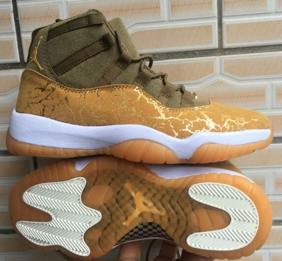 New Air Jordan 11 Olive Gold White Shoes