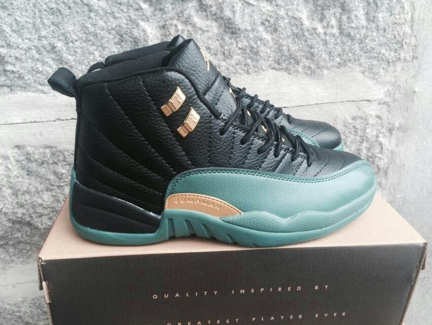 New Air Jordan 12 Black Apple Green Gold Shoes