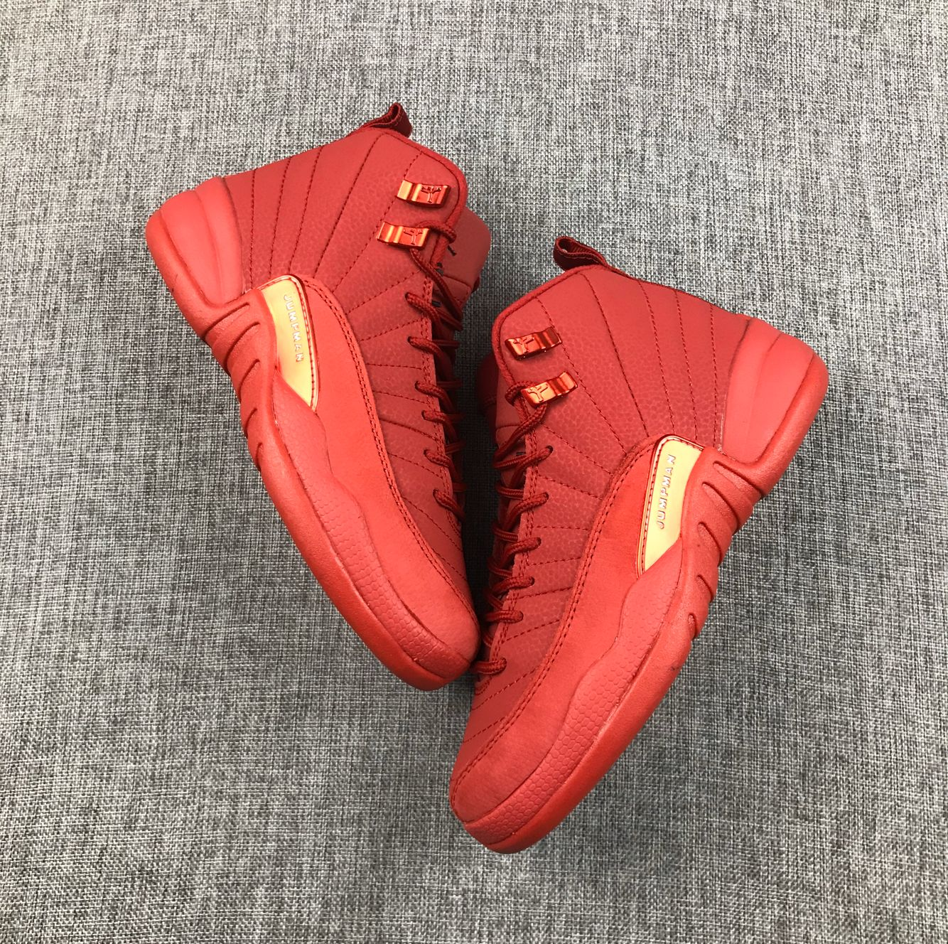 New Air Jordan 12 High All Red Shoes