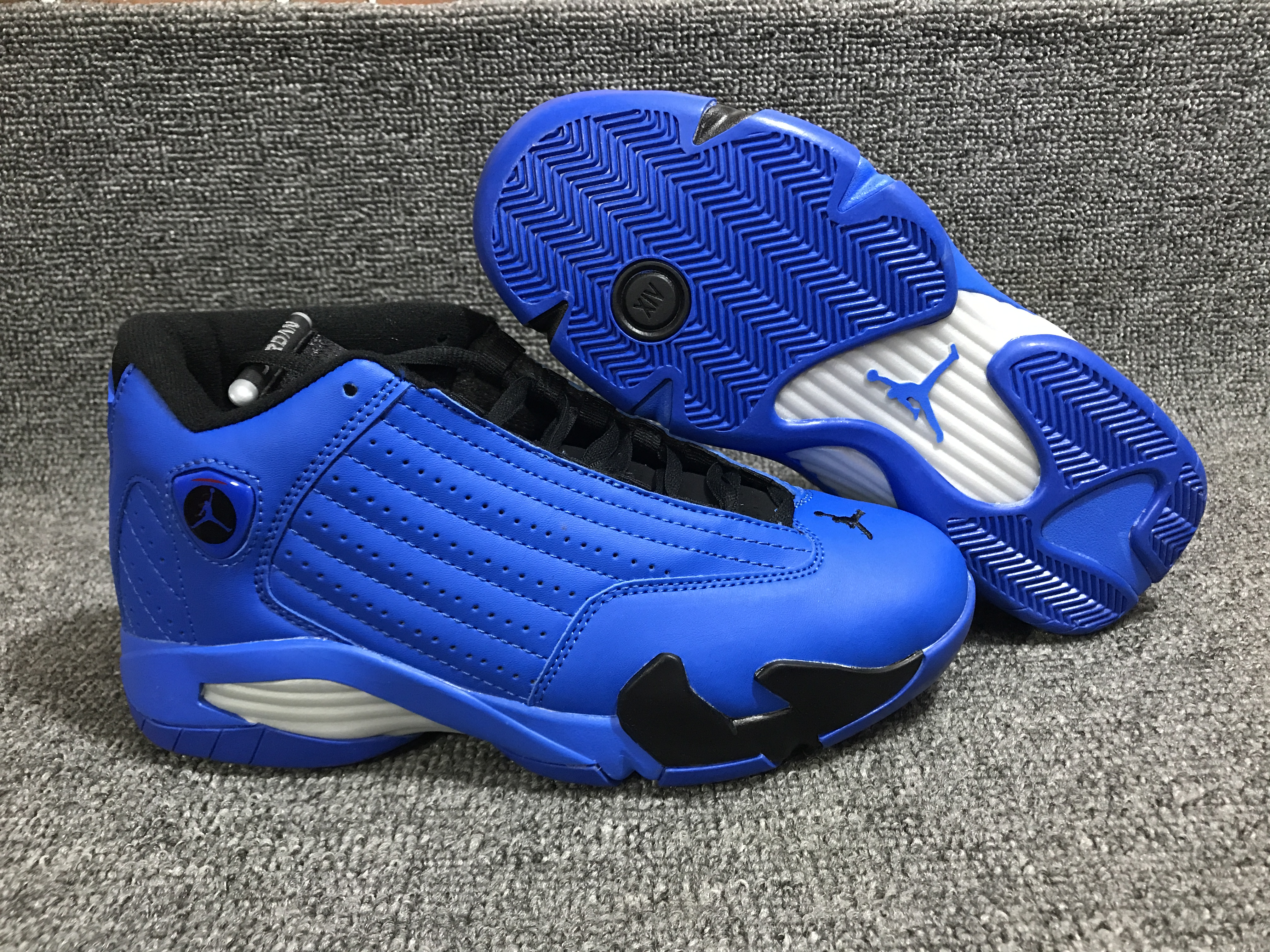 New Air Jordan 14 Blue Black White Shoes