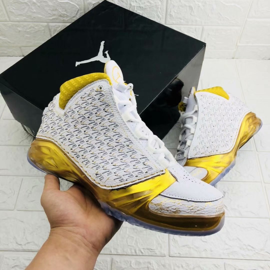 New Air Jordan 23 White Shine Gold Shoes