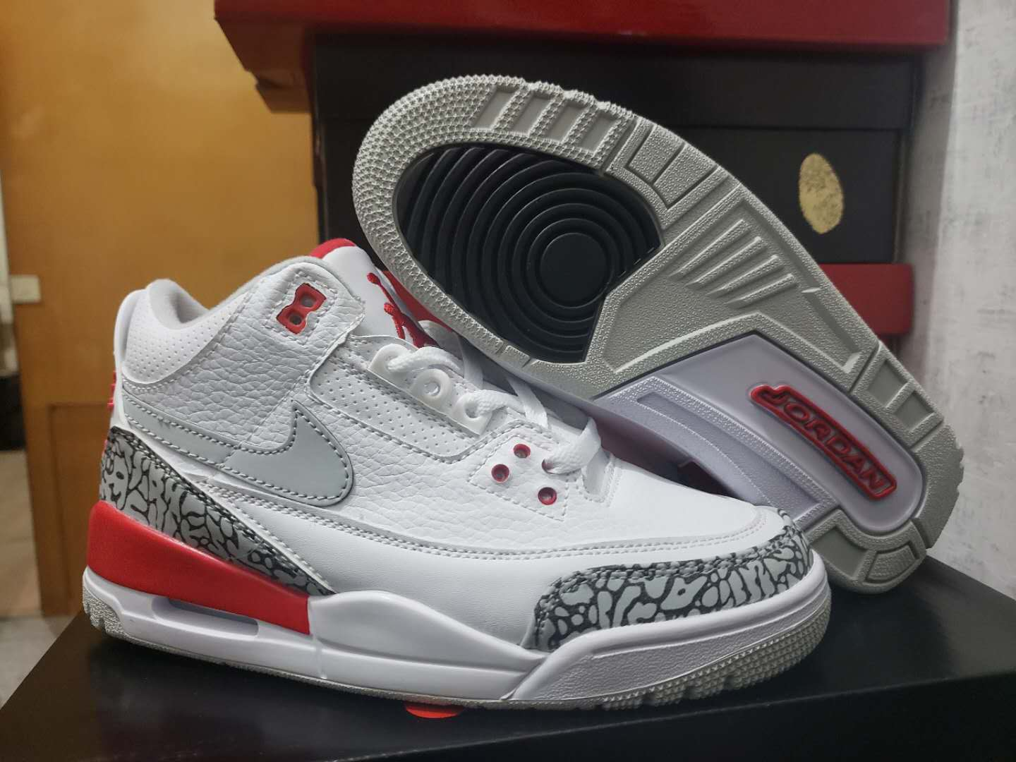 Women New Air Jordan 3 White Cement Grey Red Blue Orange Shoes