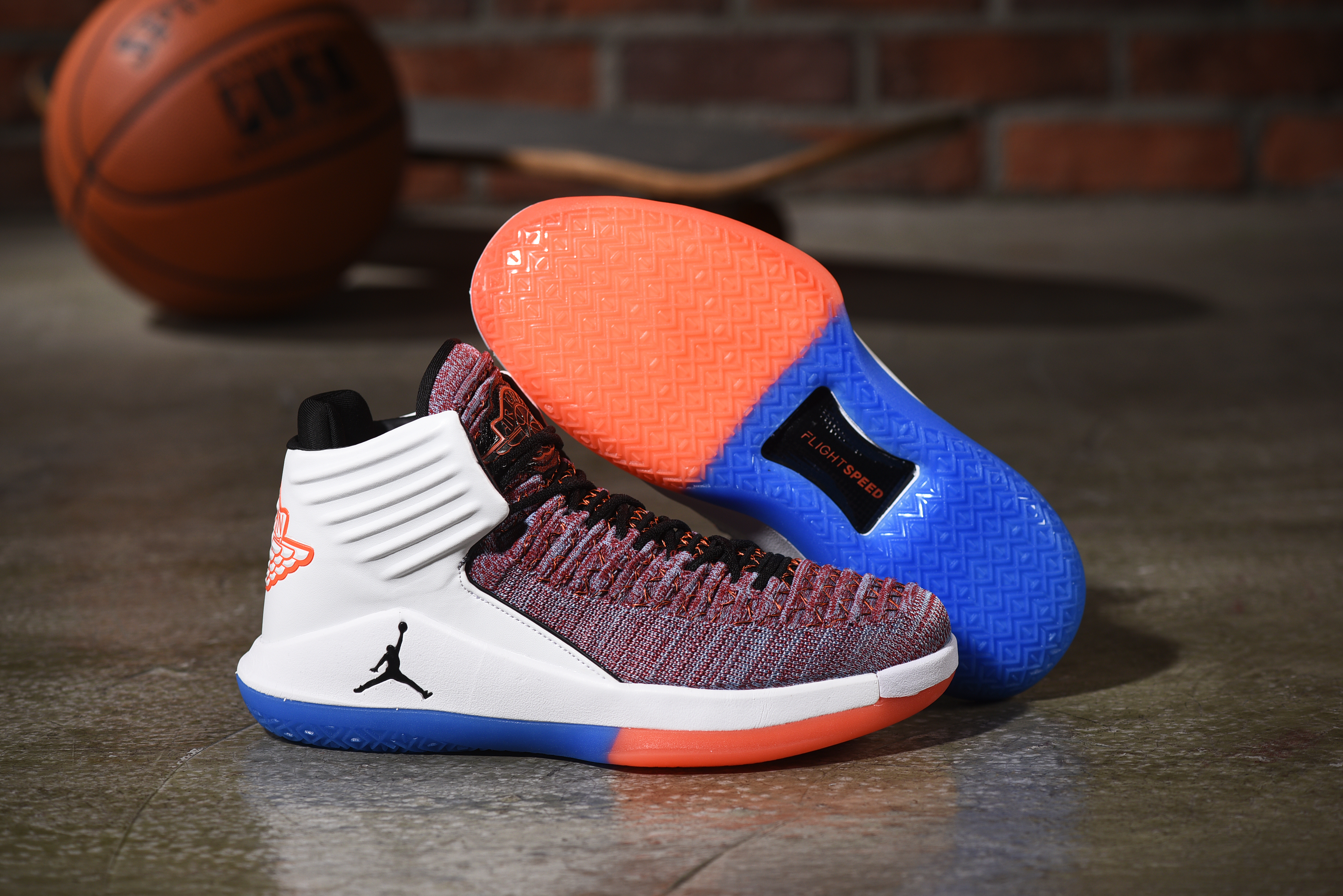 New Air Jordan 32 Wine Red Orange White Blue Shoes