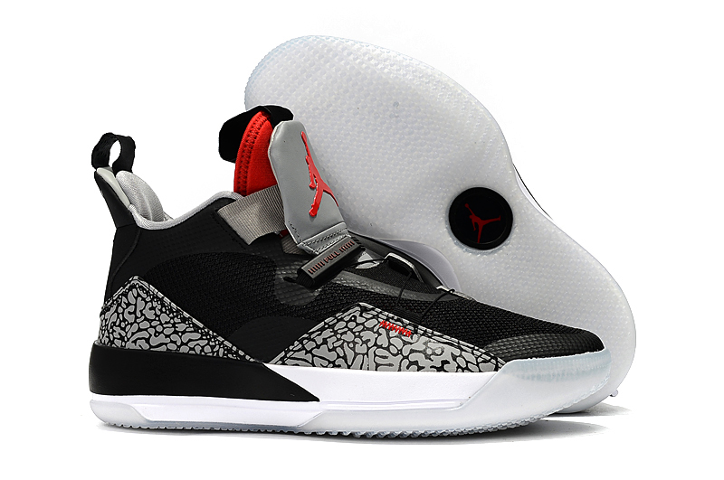 New Air Jordan 33 Black Cement Grey Red Shoes