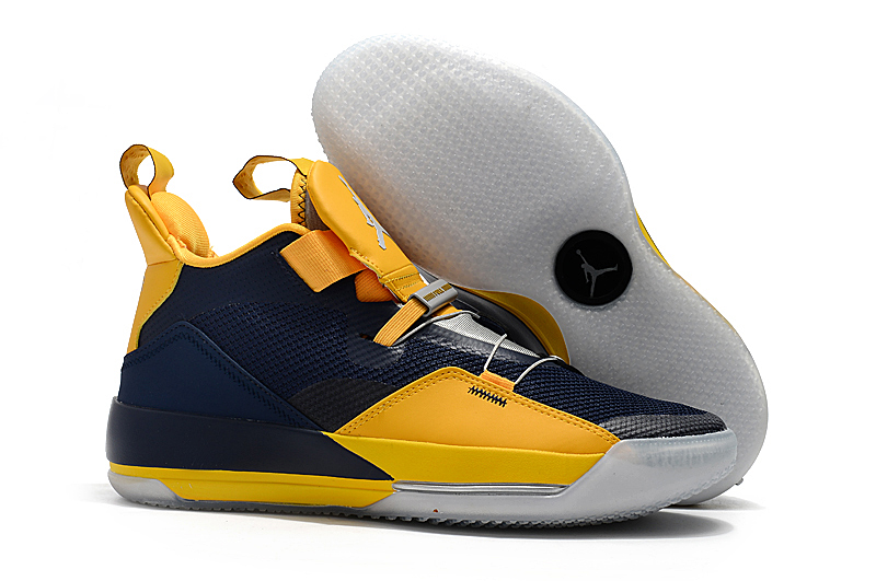 New Air Jordan 33 Deep Blue Yellow Shoes