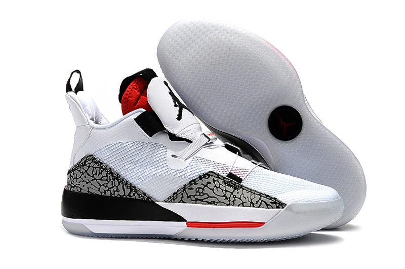 New Air Jordan 33 White Cement Grey Red Shoes