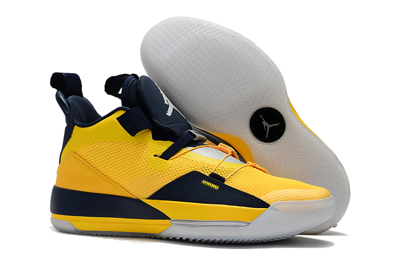 New Air Jordan 33 Yellow Deep Blue Shoes
