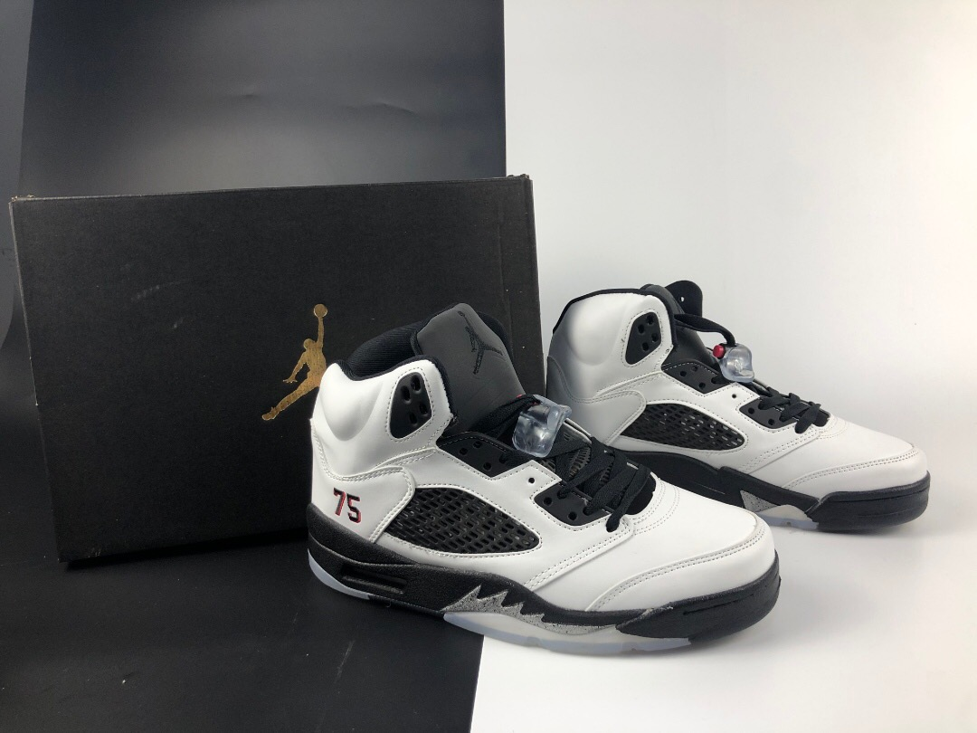 New Air Jordan 5 Paris White Black Shoes