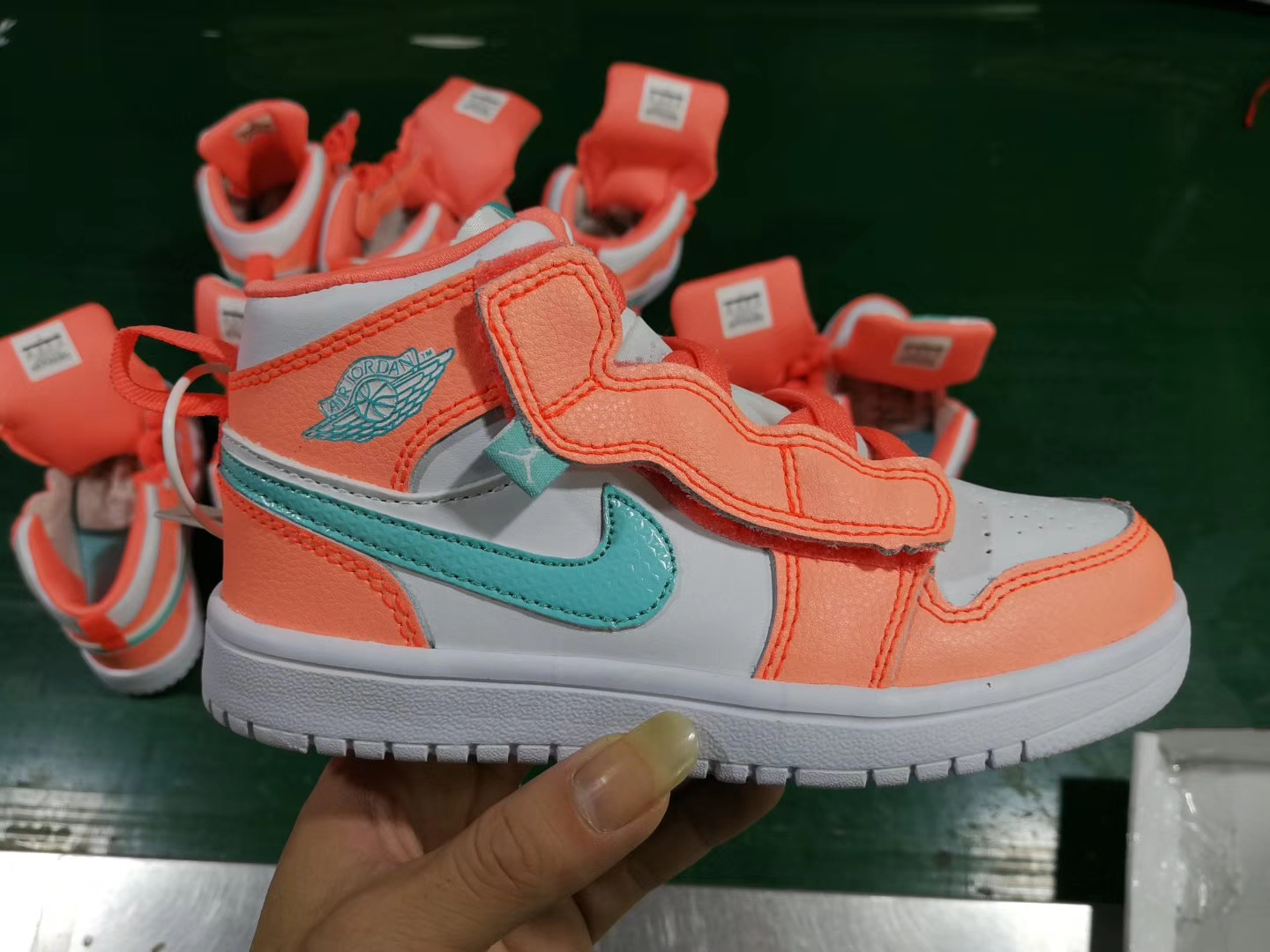 New Kids Air Jordan 1 Orange Gint Green White Shoes