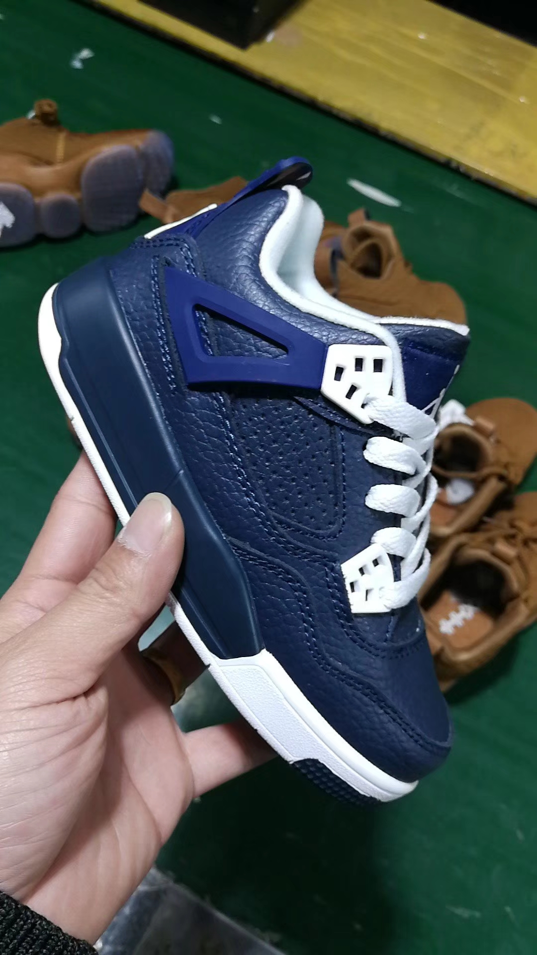 New Kids Air Jordan 4 Deep Blue White Shoes