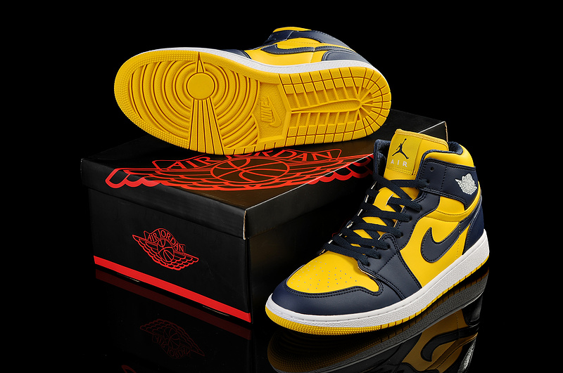 New Air Jordan 1 Black Yellow Shoes
