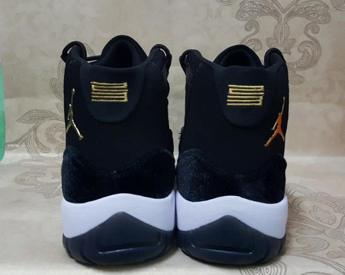 New Air Jordan 11 Black Goose Down Gold Shoes