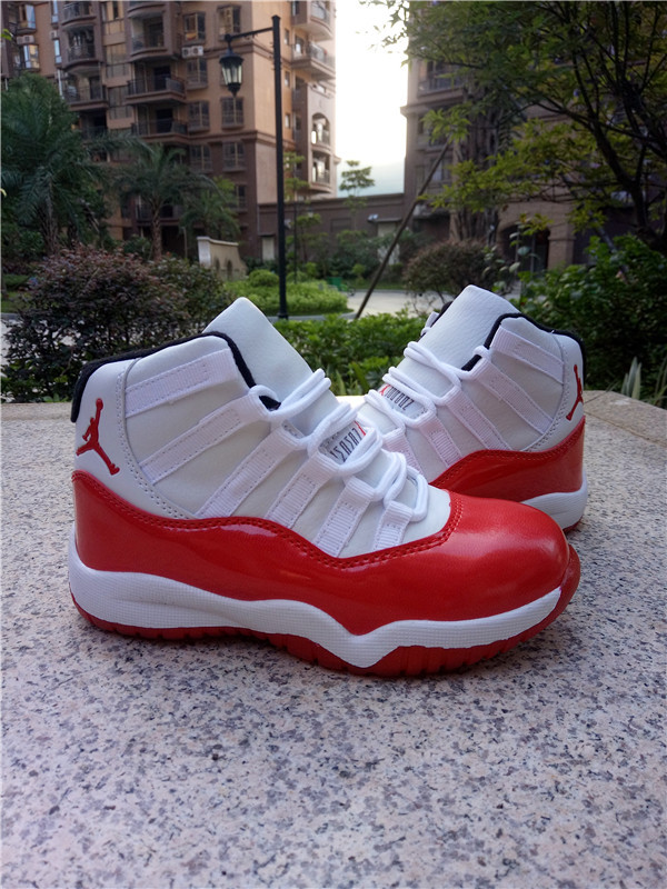 New Air Jordan 11 White Red Shoes For Kids