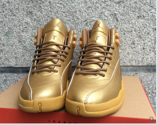 New Air Jordan 12 All Gold Shoes  16OG92701  -  85.00   Original Air ... 50761692c