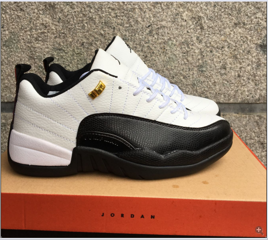 New Air Jordan 12 Low Taxi White Black Gold Shoes 16og92405