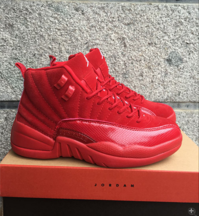 New Air Jordan 12 Retro Deer Leather All Red Shoes