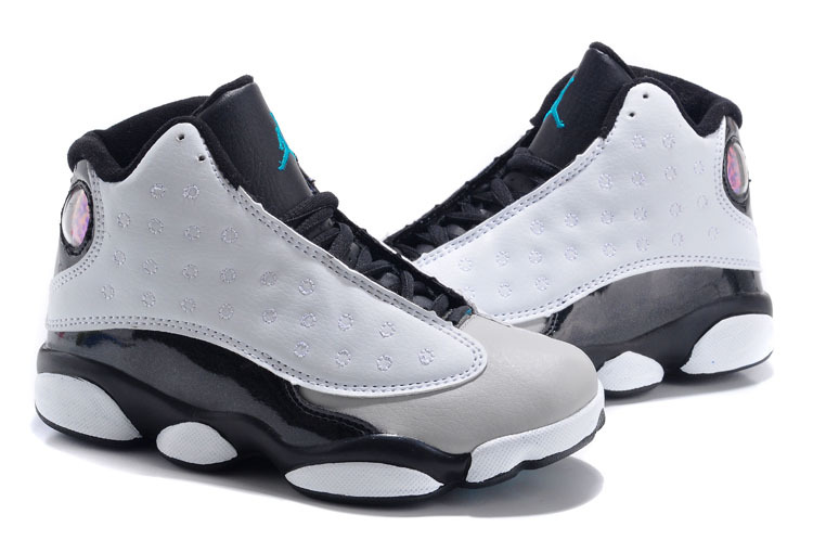 New Air Jordan 13 Grey Black For Kids