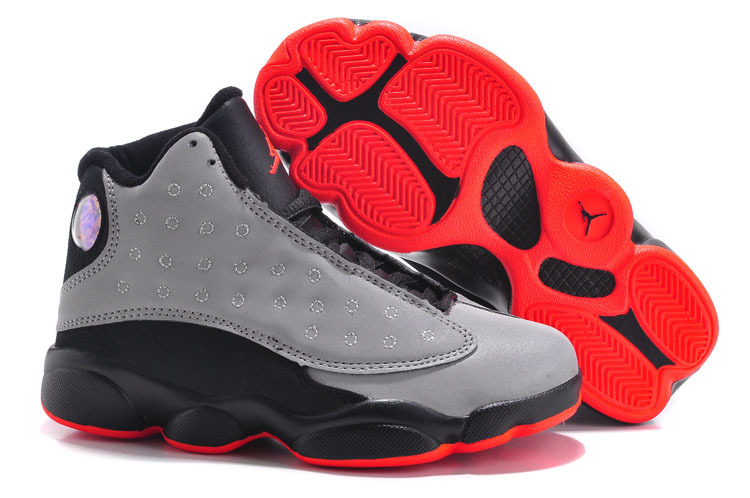 New Air Jordan 13 Grey Black Red For Kids