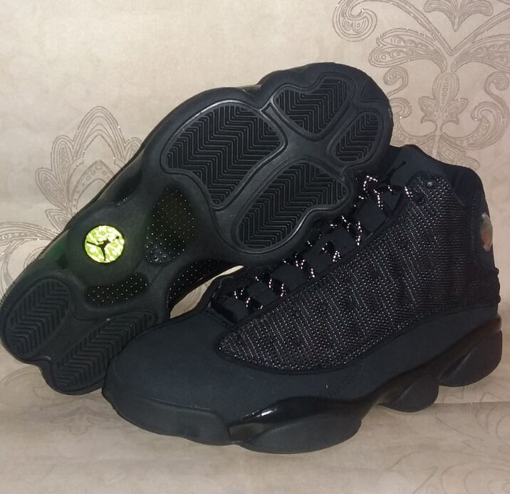 New Air Jordan 13 Retro All Black Cat Shoes