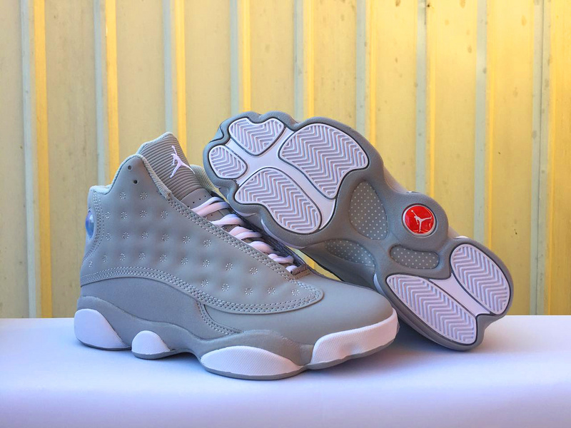 New Women Air Jordan 13 Wolf Grey White Shoes