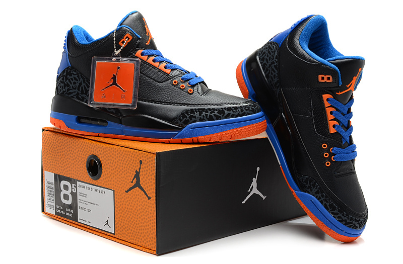 2013 Air Jordan 3 Black Blue Red Shoes