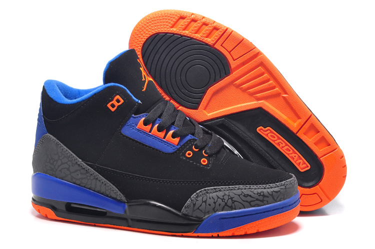 New Air Jordan 3 Black Orange Blue For Women