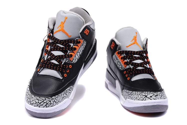 new arrival 43478 8aae5 ... discount new air jordan 3 black white cement orange shoes 52f59 53c1d