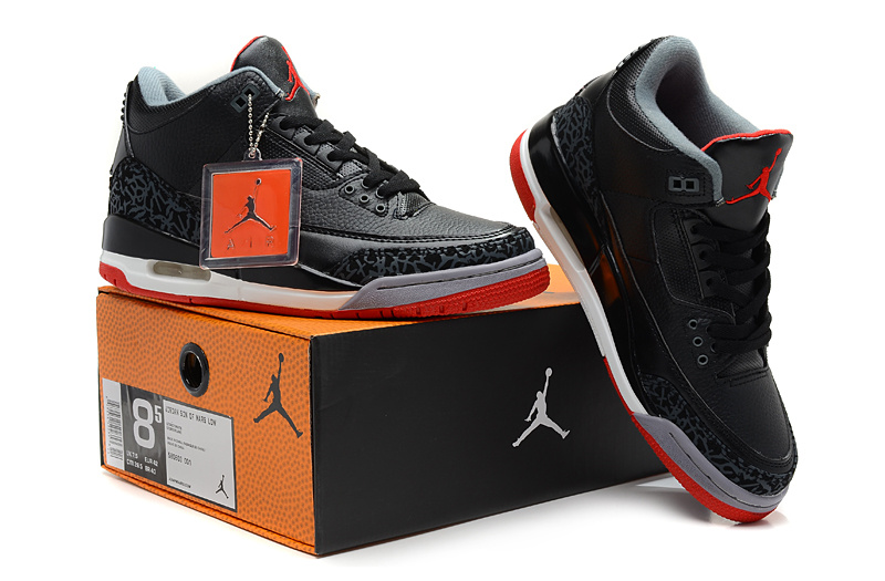 2013 Air Jordan 3 Black White Red Shoes