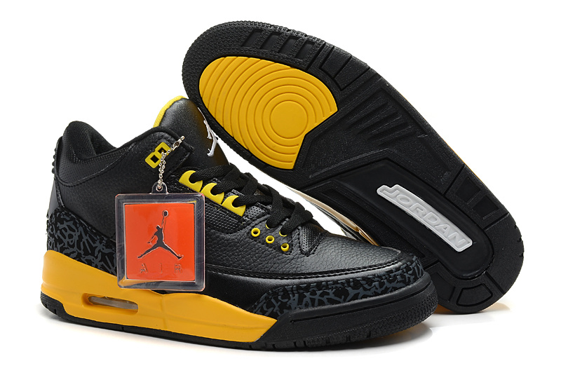 2013 Air Jordan 3 Black Yellow Shoes