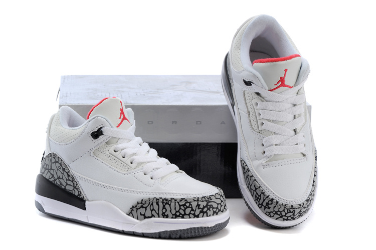 New Air Jordan 3 White Grey Cement Black Shoes For Kids  KID034 ... d16ed4938