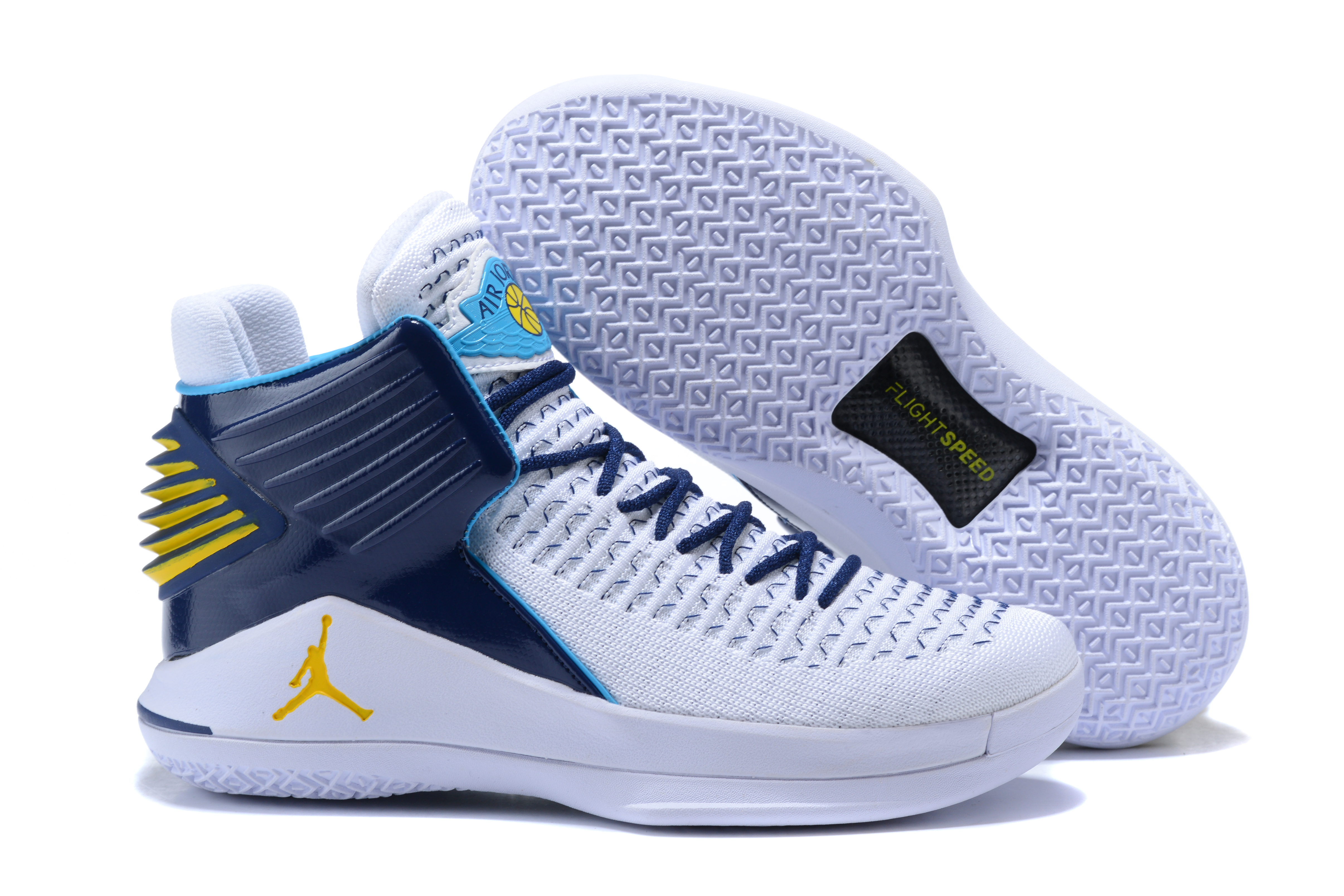 New Air Jordan 32 High White Blue Yellow