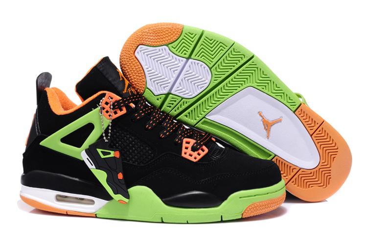 2013 Air Jordan 4 Black Green Orange
