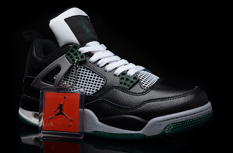 New Air Jordan 4 Black Green Shoes