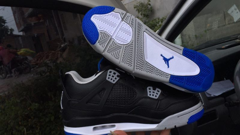 New Air Jordan 4 Black Roayl Blue Shoes