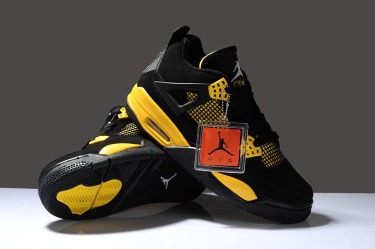 Reissued Air Jordan 4 Black Yellow Shoes 964e185ce6b7