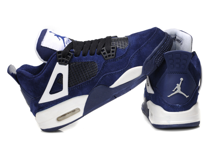 2013 Air Jordan 4 Dark Blue White For Women