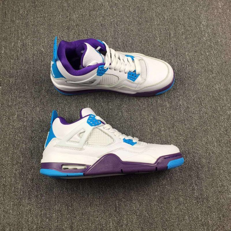 New Air Jordan 4 Hornets White Blue Purple Shoes