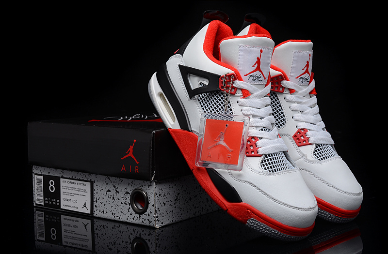 New Air Jordan 4 White Red Black Shoes