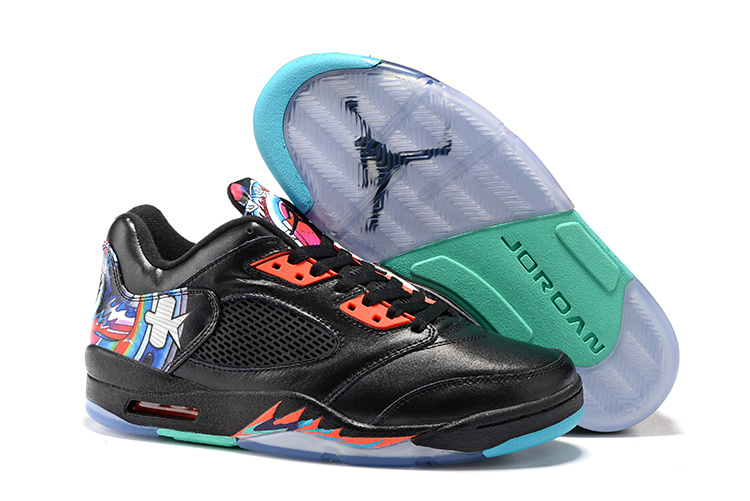 New Air Jordan 5 Low GS Kite Black Orange Shoes