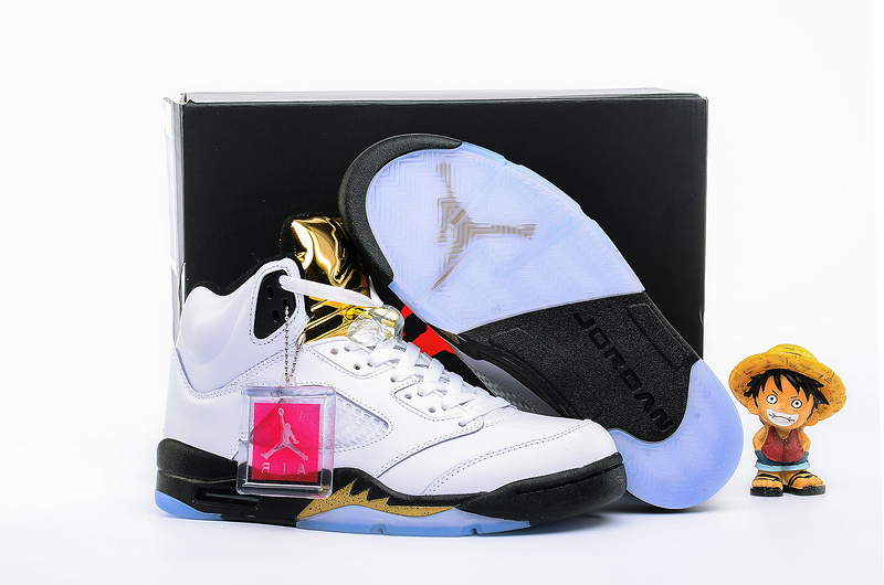 New Air Jordan 5 Olympic White Black Gold Shoes